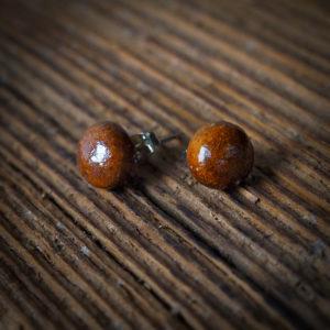 BROWN ball afrykańskie kolczyki KAZURI