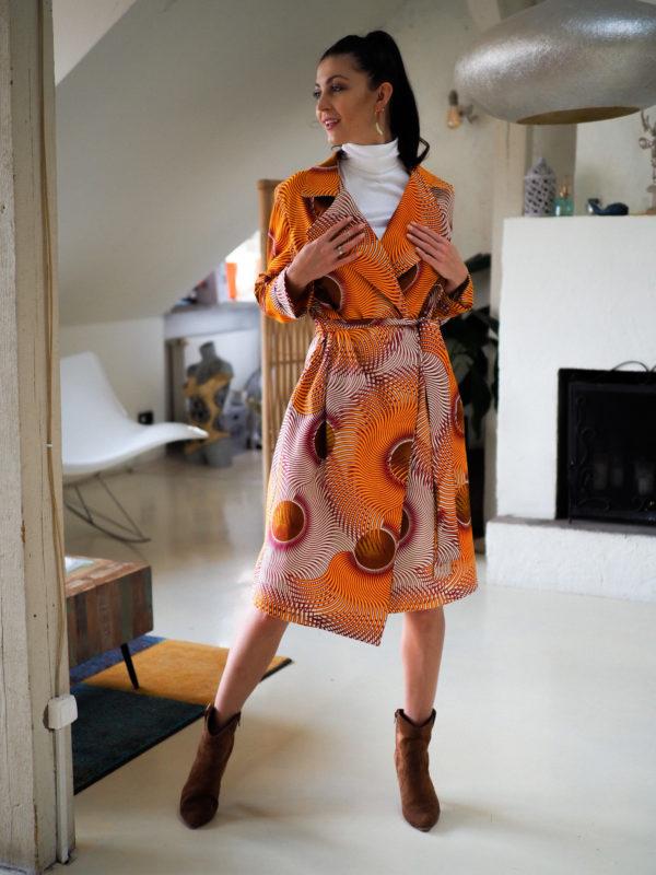 płaszcz sukienka w afrykański wzór - ZEBRA STORE