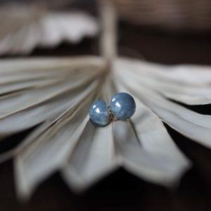 CEMENT BLUE BALL afrykańskie kolczyki KAZURI