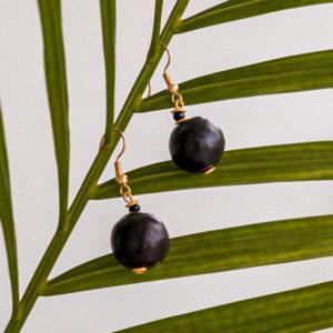 BLACK BALL afrykańskie kolczyki KAZURI
